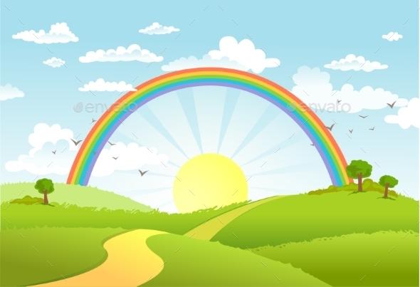 GraphicRiver Rainbow Landscape 11090775