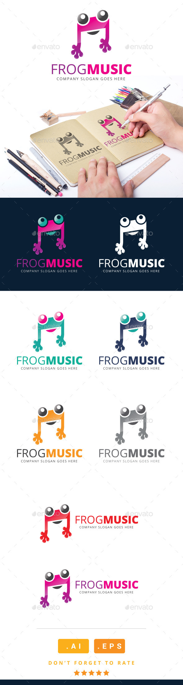 GraphicRiver Frog Music Logo 11090837