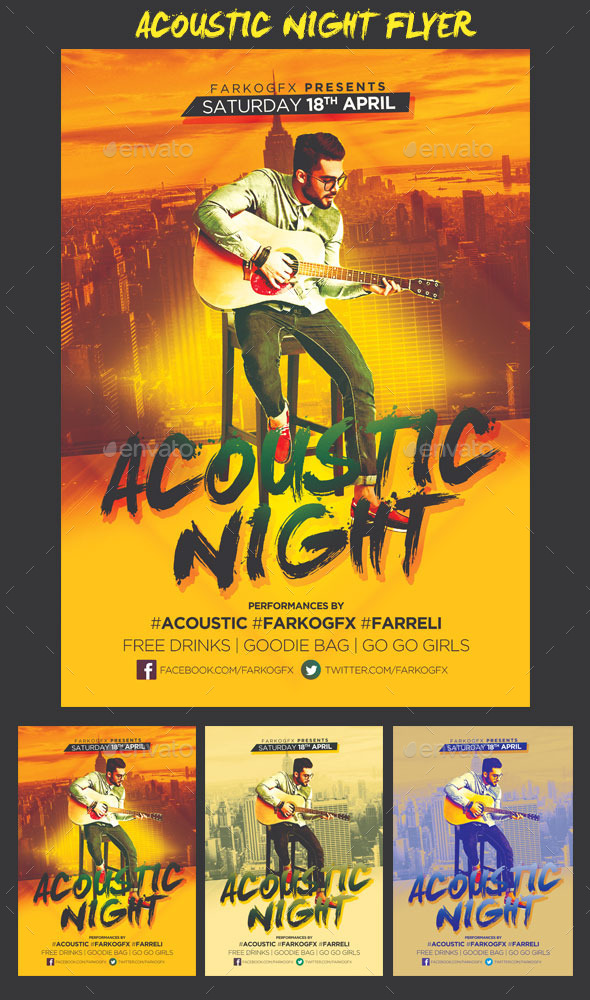 GraphicRiver Acoustic Night Flyer 11090896