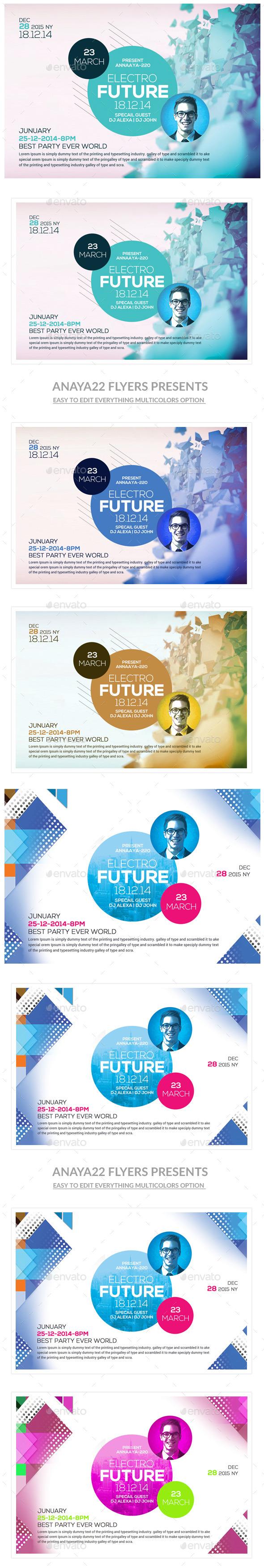 GraphicRiver Minimal Futuristic Psd Flyers Bundle 11090904