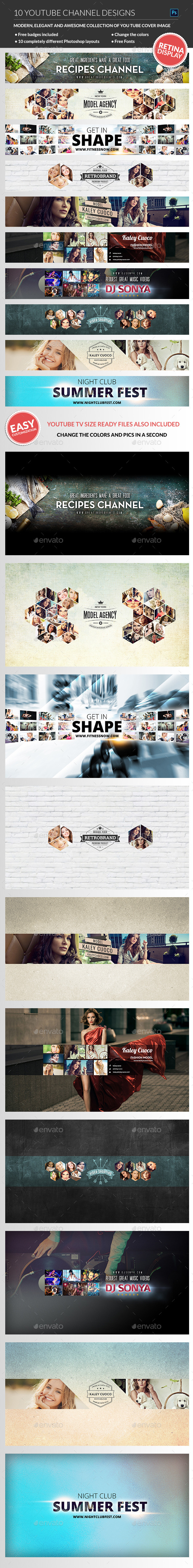 GraphicRiver 10 Multipurpose YouTube Channel Banners 11090920