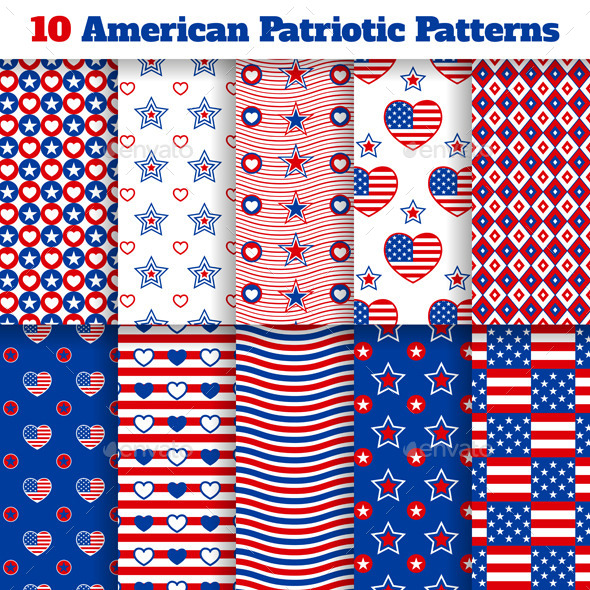 GraphicRiver American Seamless Patterns 11091309