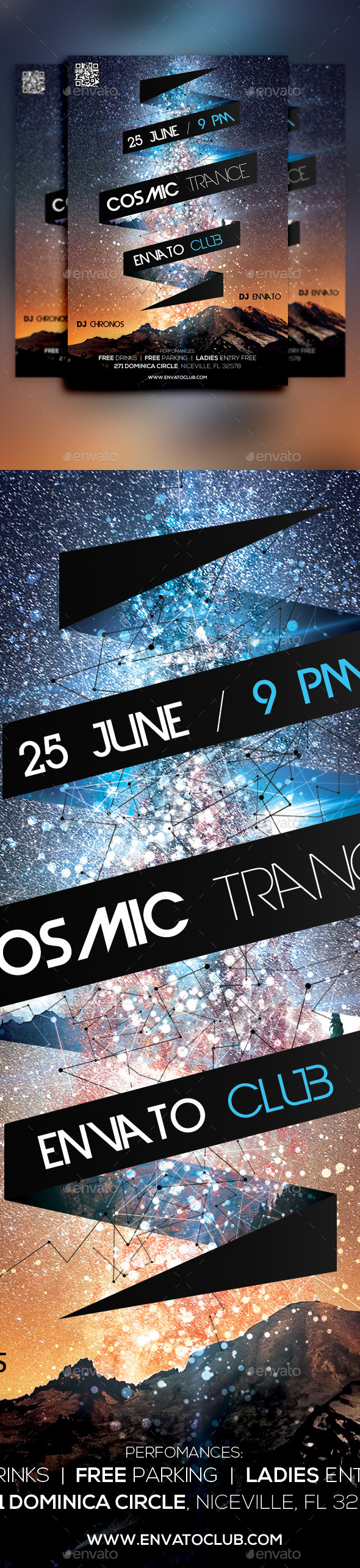 GraphicRiver Cosmic Trance Flyer 11091387