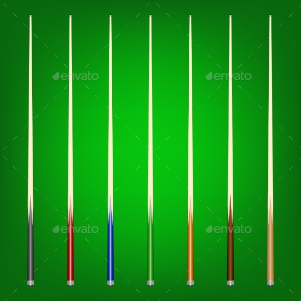 GraphicRiver Set of Billiard Cues 11092692
