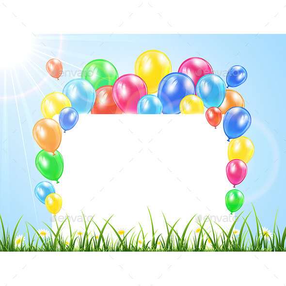 GraphicRiver Balloons and Banner on a Grass 11092693