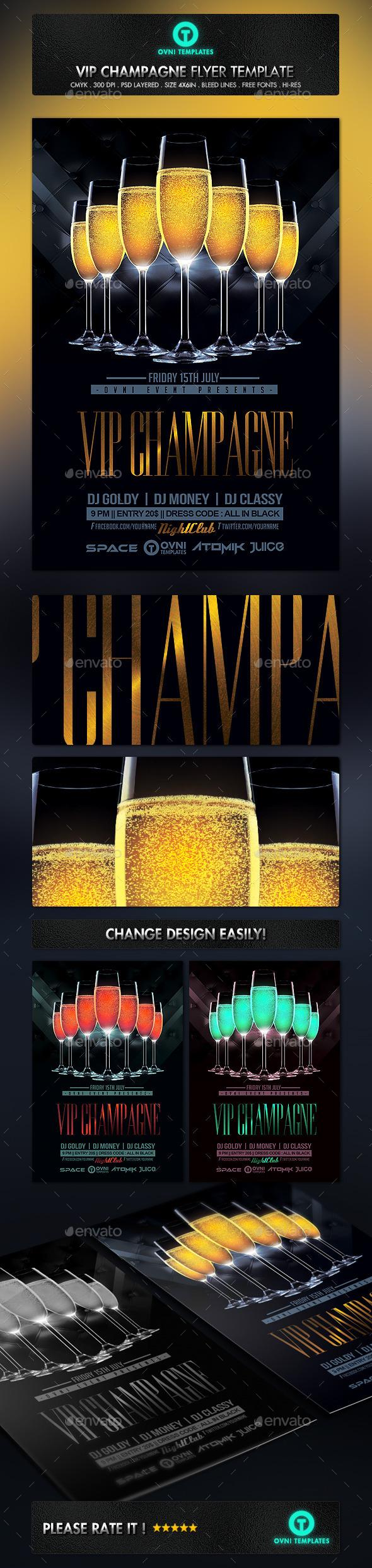 GraphicRiver Gold VIP Champagne Flyer Template 11093011