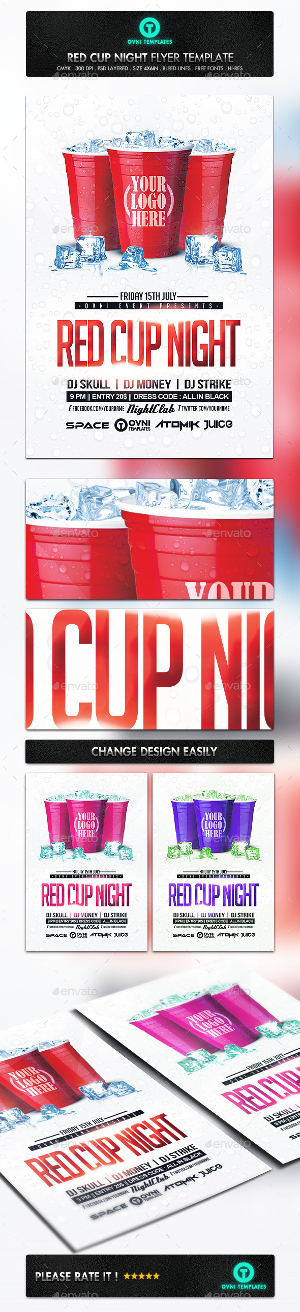 GraphicRiver Red Cup Night Flyer Template 11093893