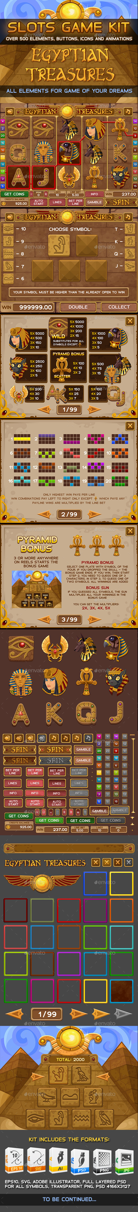 GraphicRiver Egyptian treasures slots game 11093987