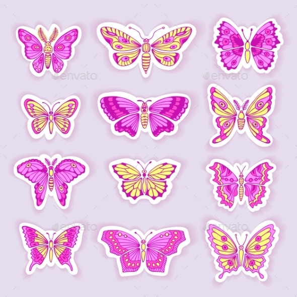 GraphicRiver Set of Butterflies Decorative Isolated Silhouettes 11094003