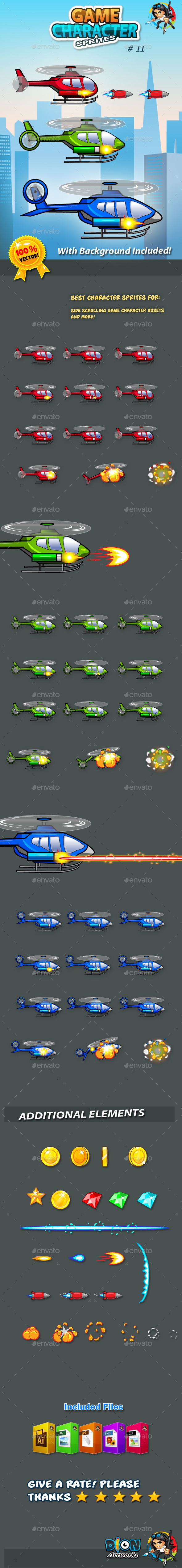 GraphicRiver Helicopters Game Character Sprites 11094303
