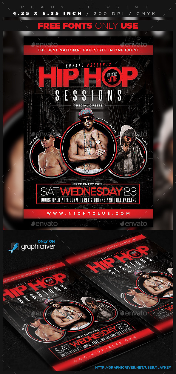 GraphicRiver Hip Hop Sessions Event Flyer 11094325
