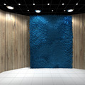 Empty room with Blue Carpet on Wooden wall - PhotoDune Item for Sale