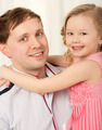 Lovely portrait of father and little daughter - PhotoDune Item for Sale
