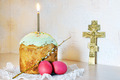 Christian Easter still life with red eggs and burning candle over the cake - PhotoDune Item for Sale