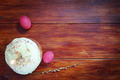 Composition about Orthodox Christian Easter with red eggs and a cake - PhotoDune Item for Sale