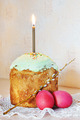 Orthodox Christian Easter still life with red eggs and burning candle over the cake - PhotoDune Item for Sale