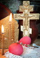 Orthodox Christian Easter still life with red eggs and metal ancient cross - PhotoDune Item for Sale
