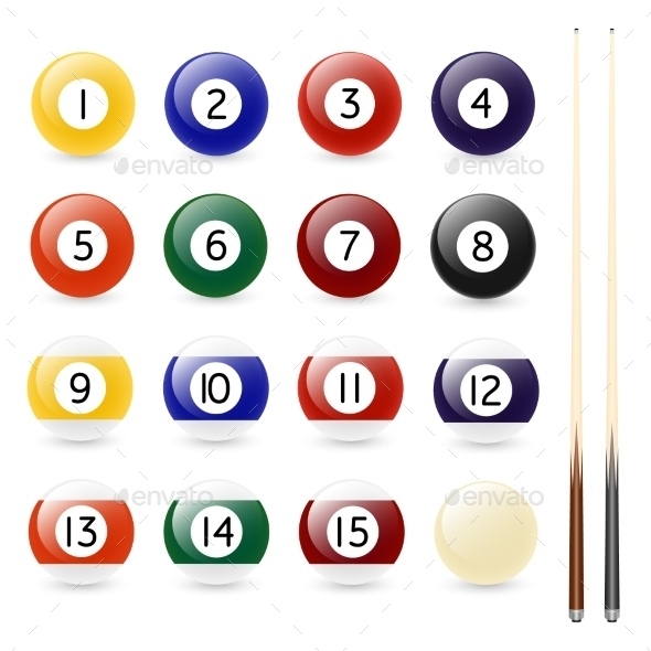 GraphicRiver Set of Sixteen Billiard Balls and Two Cues 11095951