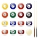 Set of Sixteen Billiard Balls and Two Cues - GraphicRiver Item for Sale