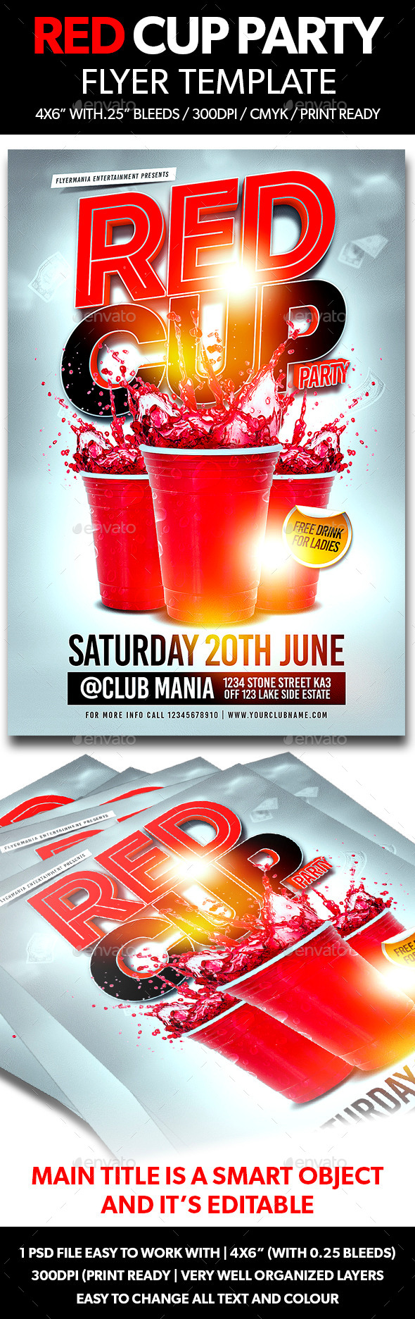 GraphicRiver Red Cup Party Flyer Template 11096277