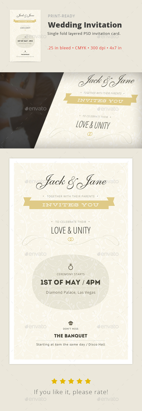 GraphicRiver Love & Unity Wedding Invitation Card 11096417