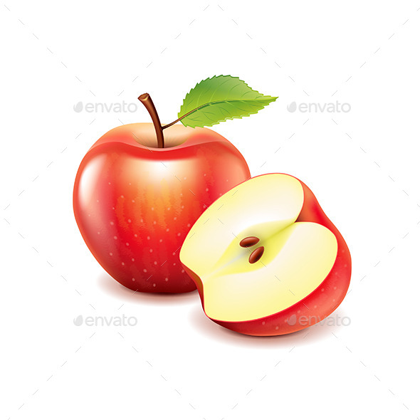 GraphicRiver Red Apple and Slice 11096888