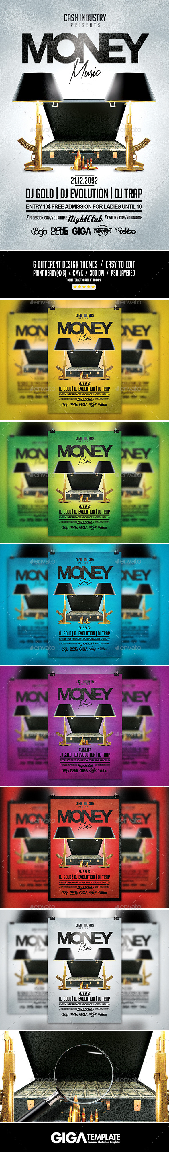 GraphicRiver Money Music Hip-Hop Rap Night Flyer PSD Template 11096905