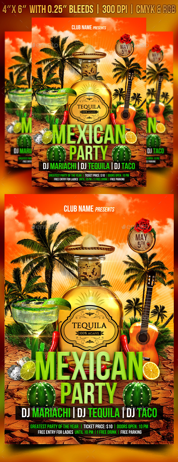 GraphicRiver Mexican Party Flyer Template 11097419