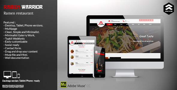 Ramen Warrior - Asian Restaurant Muse Template