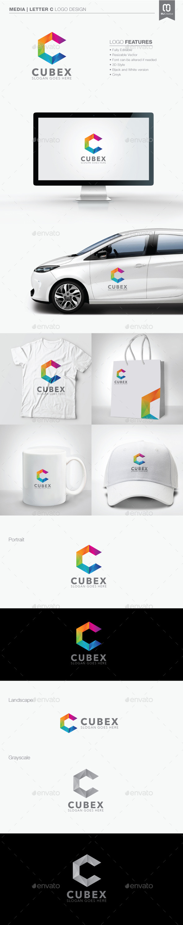 GraphicRiver Polygon Letter C Logo 11097953