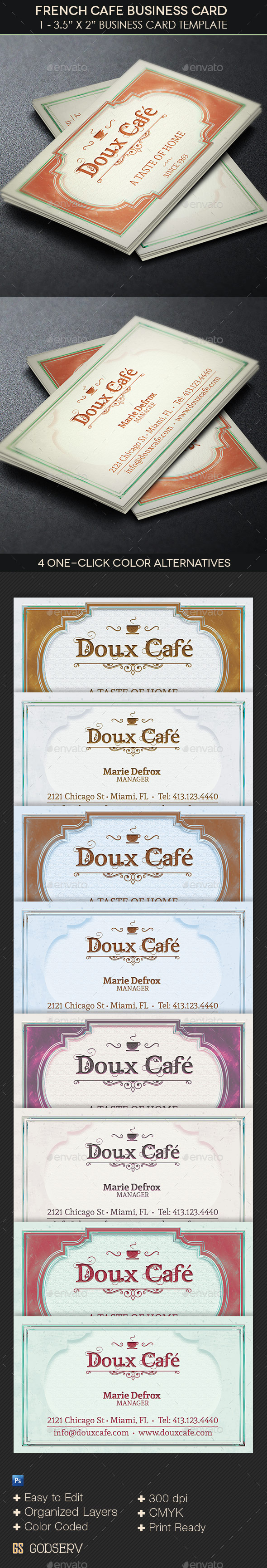 GraphicRiver French Cafe Business Card Template 11098066