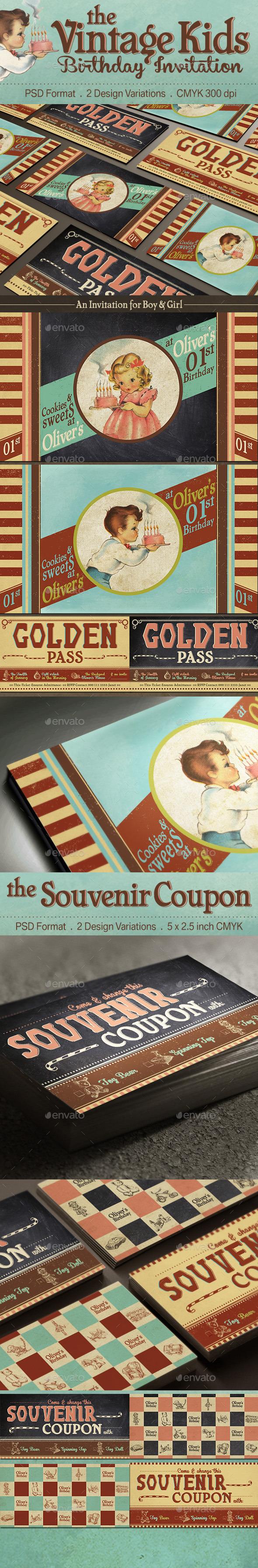 GraphicRiver Vintage Kids Birthday Invitation 11098183