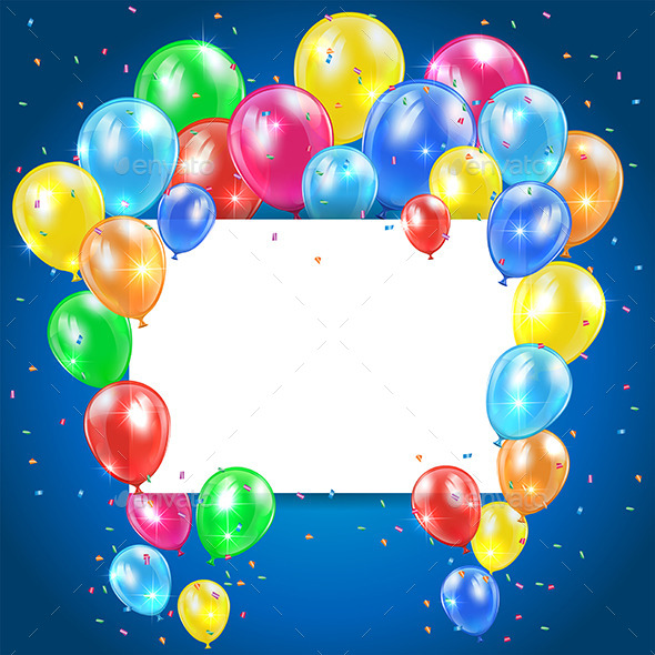GraphicRiver Balloons on Blue Background with Card 11098466