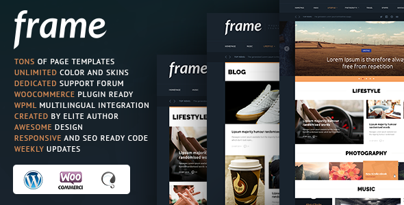 ThemeForest Frame Magazine Responsive WordPress Theme 10980596