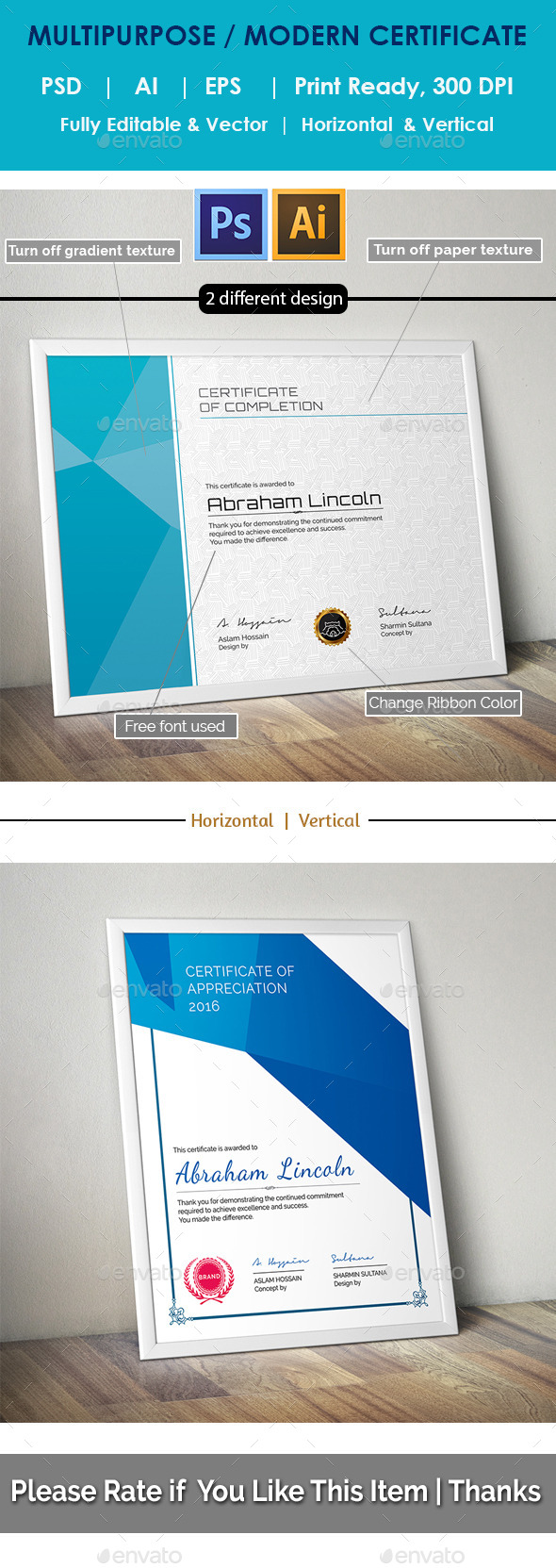 GraphicRiver Modern Multipurpose Certificate GD019 11099001