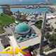 Aerial View Flying Over Mosque and Port - VideoHive Item for Sale