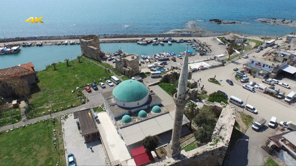 Aerial View Flying Over Mosque and Port