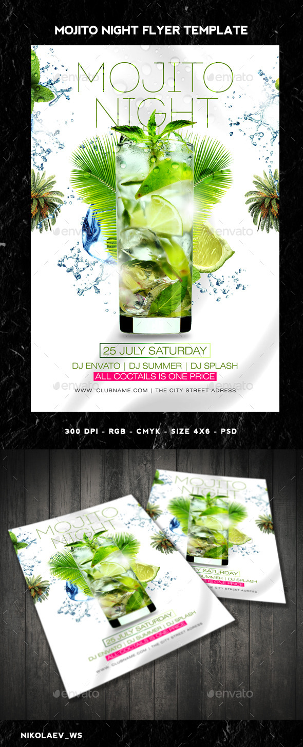 GraphicRiver Mojito Night Flyer 11100122