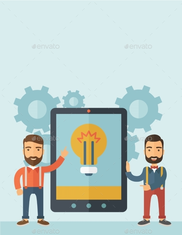 GraphicRiver Two Men Holding a Big Screen Tablet 11100860