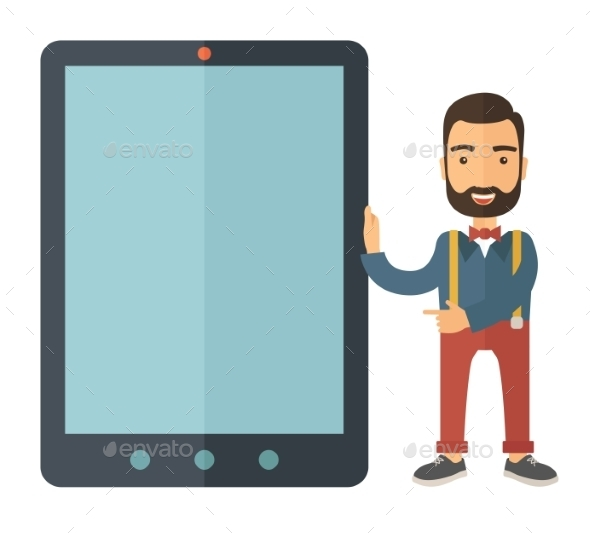 GraphicRiver Man with Big Screen Tablet 11100863