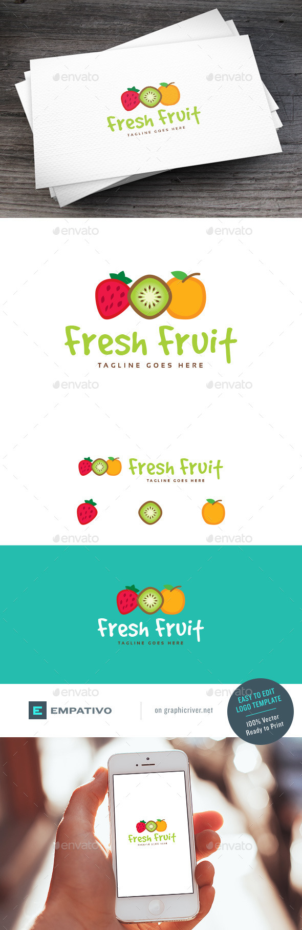GraphicRiver Fresh Fruit Logo Template 11100878