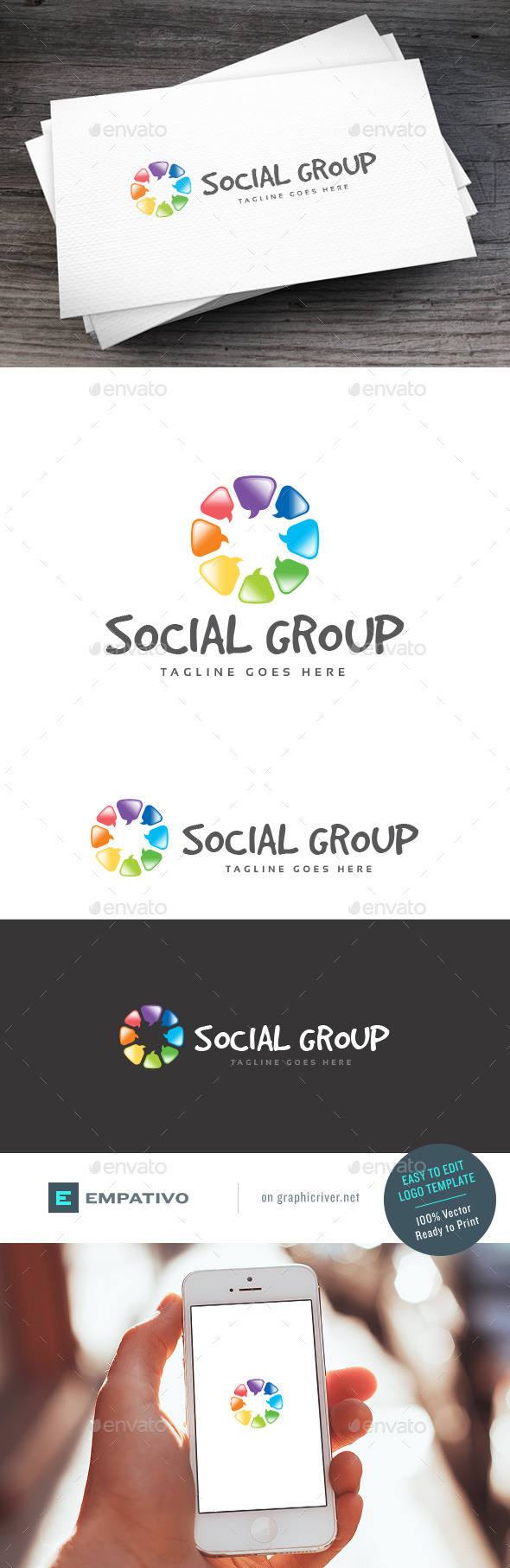 GraphicRiver Social Group Logo Template 11100990