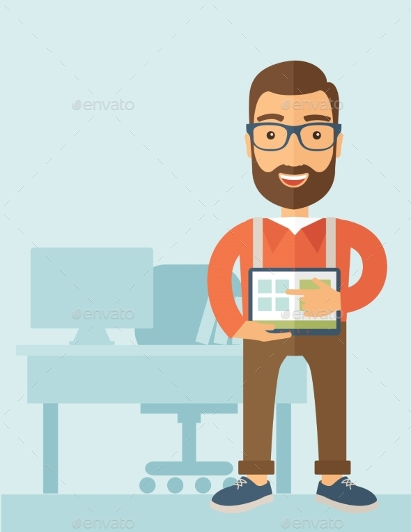 GraphicRiver Man Holding a Screen Tablet 11101171