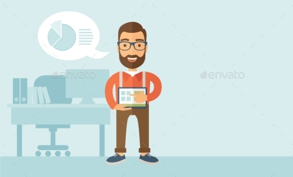 GraphicRiver Man Holding a Screen Tablet 11101176
