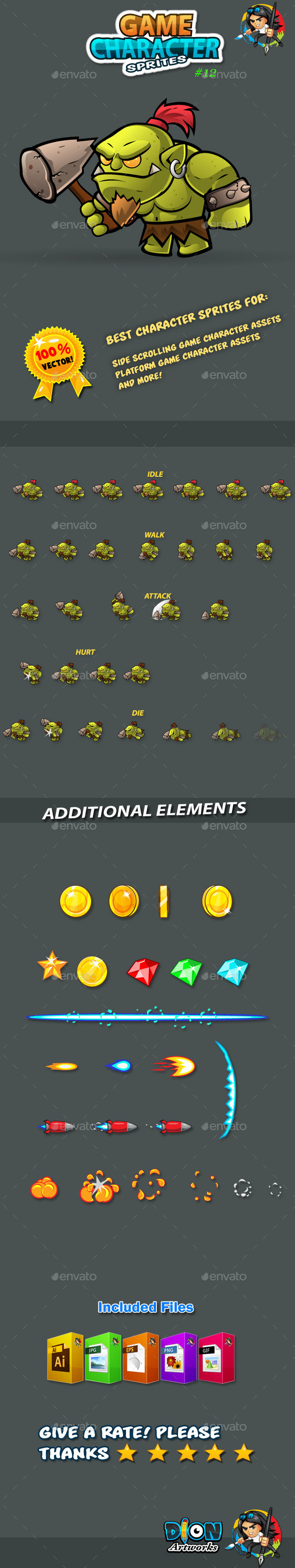 GraphicRiver Orc 2D Game Character Sprites 11101196