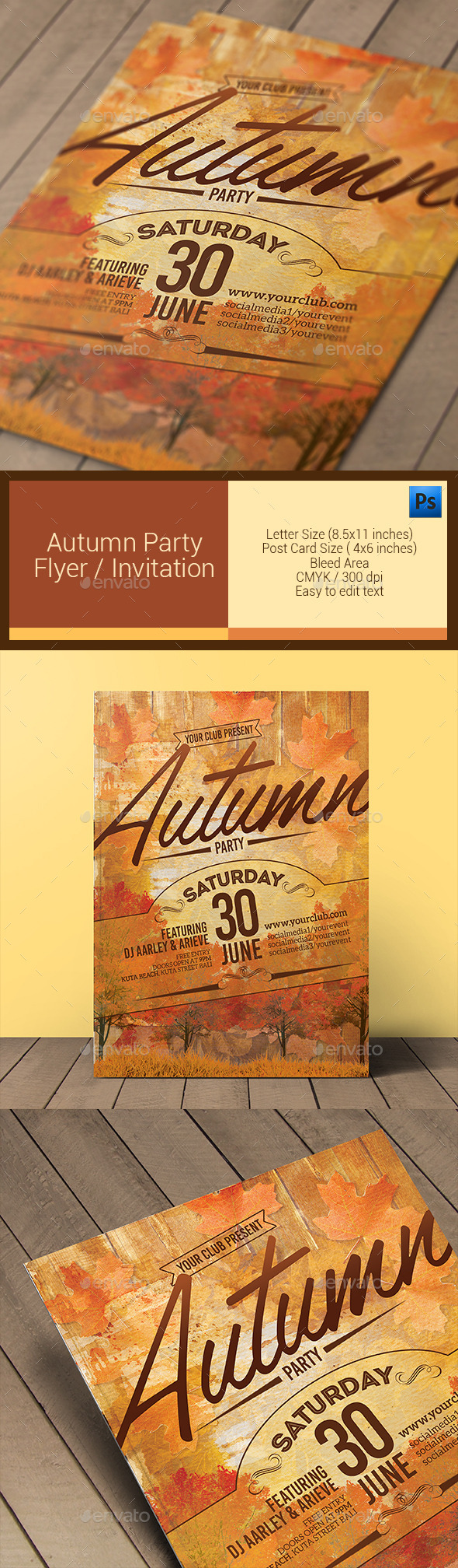 GraphicRiver Autumn Party Flyer Invitation 11101287