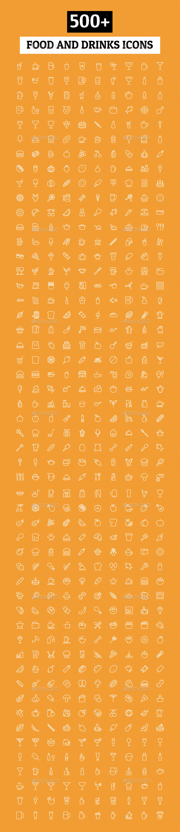 GraphicRiver 500& Food and Drinks Icons 11101345