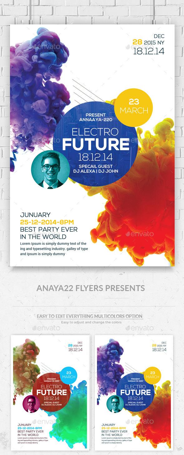 GraphicRiver Electro Smoke Futuristic Flyer Poster 11101582
