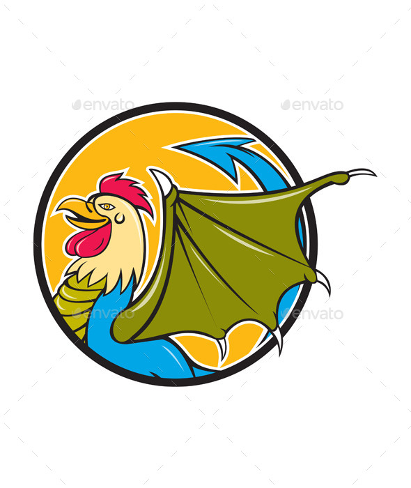 GraphicRiver Basilisk Bat Wing Circle Cartoon 11101588