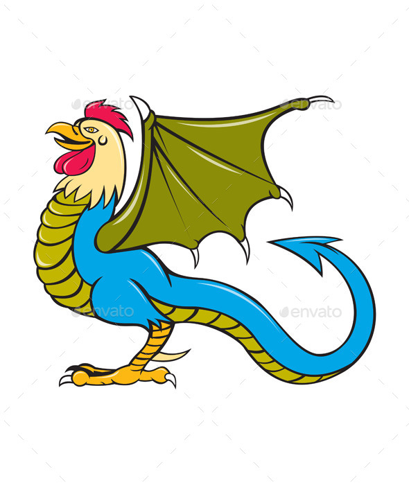 GraphicRiver Basilisk Bat Wing Standing Cartoon 11101607